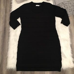 Calvin Klein Large Black 3/4 Sleeves Shirt Dress